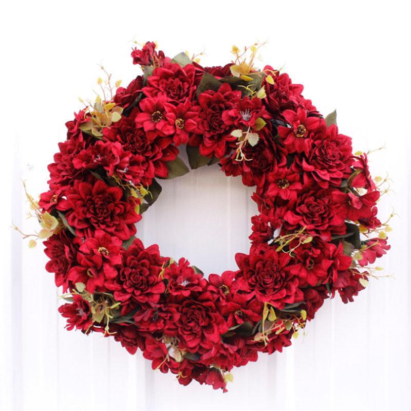 Sıcak Satış 48 cm Yüksek Kalite Büyük Beden Yapay Çiçek Çelenk İçin Kapı Duvar Pencere Noel Ev Düğün Bahçe Dekorasyon