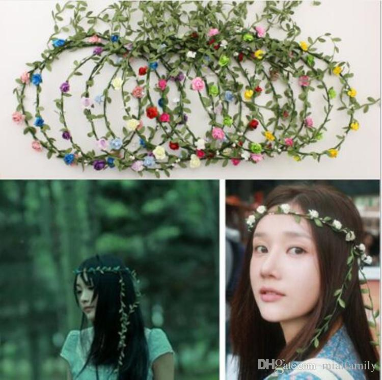웨딩 신부 소녀 머리 꽃 크라운 등나무 화환 하와이 꽃 머리 화환 보헤미안 머리띠 50 개 혼합 색상