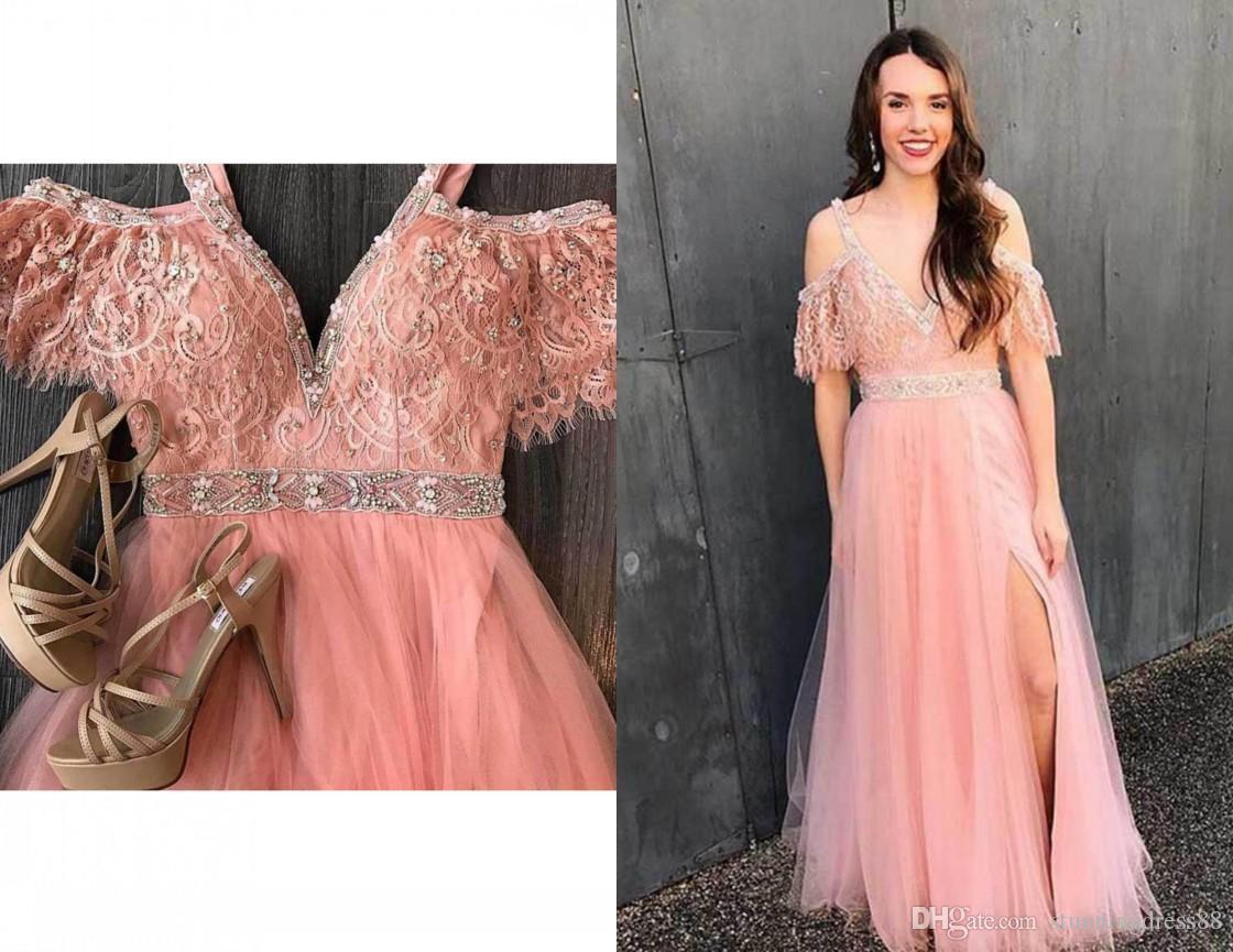 Elegant Blush Pink V neck 2021 Prom Evening Dress Formal Gowns Cold Shoulder Lace Side Slit Tulle Beaded Cheap Pageant Celebrity Dress