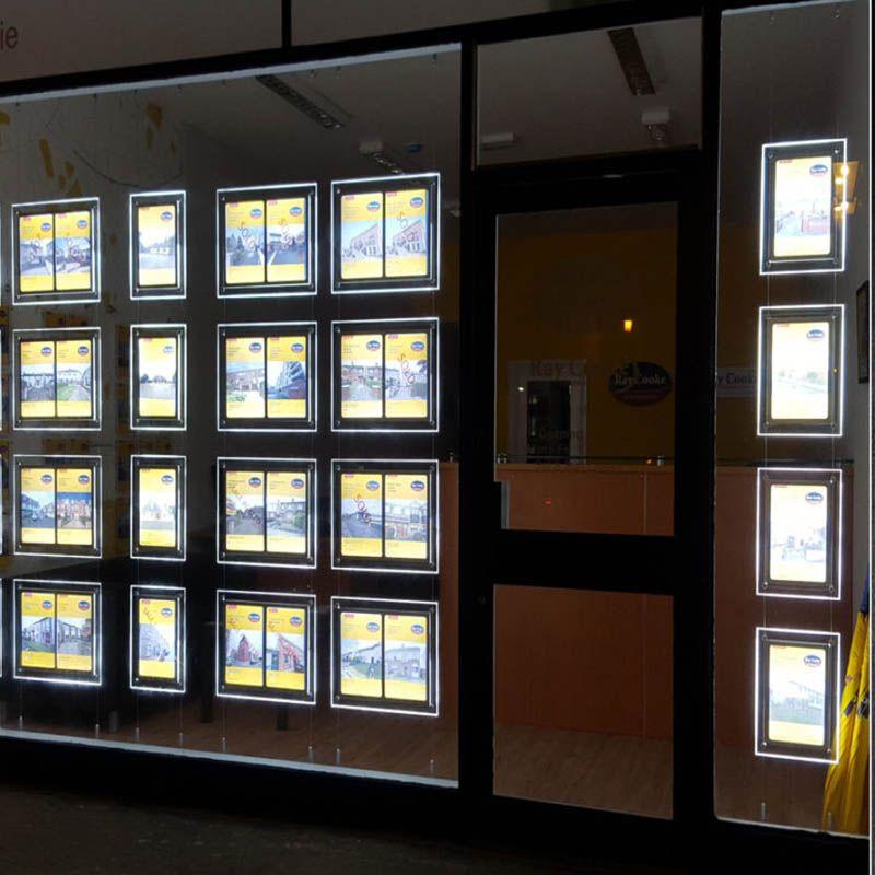 (12 unités / paquet) Affichages muraux de fenêtre à LED double face A3, dispositifs d'affichage pour enseignes publicitaires pour les agences immobilières
