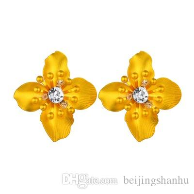 New arrival Asymmetry Stud Earrings For Women Cute Flower Statement Earrings 2019Hot Sale ZA Jewelry wholesale E2543