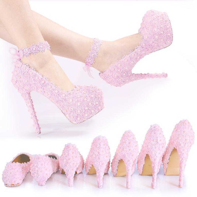 Fairy2019 Nuovo Fondo Pizzo Rosa Colore Crystal Drill Shoe Damigella Perla Donna Manuale Super Alta Con Principessa Scarpe Da Sposa