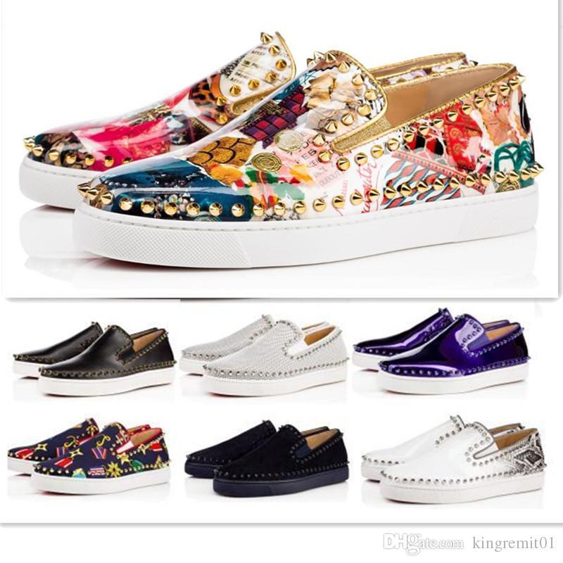 I progettisti delle scarpe da tennis calda Casual Shoes Designer bassi delle donne degli uomini neri Spikes Flats fannulloni Pik barca vera pelle design Uomo Donna scarpe