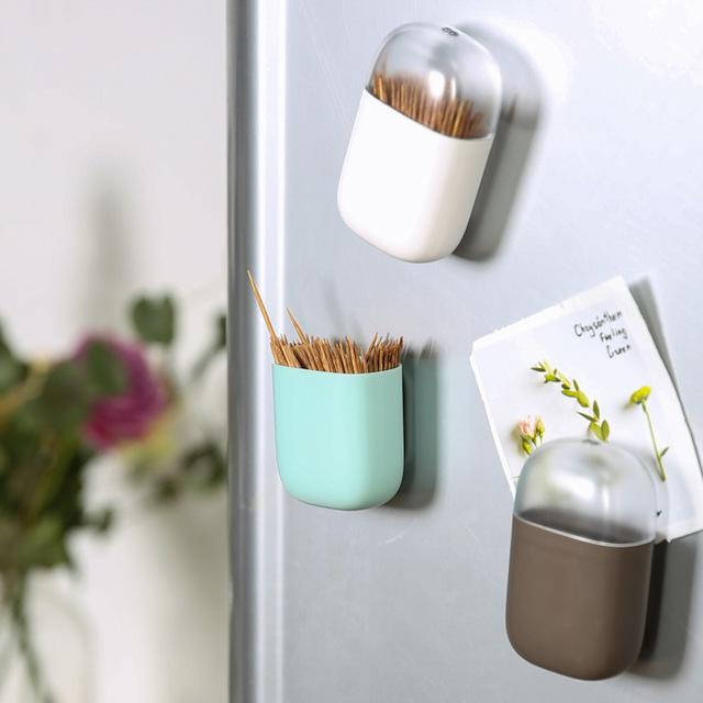 Magnetic Toothpick Holder Container Portable Toothpick Box Refrigerator Microwave Oven Household Table Toothpick Dispenser lp0180