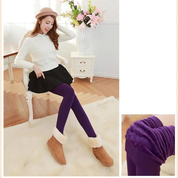2020 caliente venta de la manera mujeres paño grueso y suave calor de invierno polainas elásticas caliente lana forrada delgados pantalones térmicos suave del estilo de la tela # LR4
