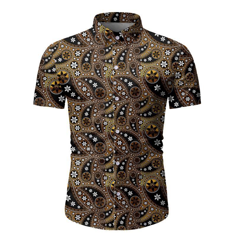 Пейсли печатные рубашки для мужчин лацкан шеи с коротким рукавом Homme футболки однобортные прямые мальчики пляжная одежда