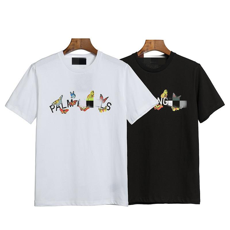 Colorful butterfly pattern PA letter short sleeve tide brand angels men and women loose OS casual round neck cotton T-shirt short sleeve