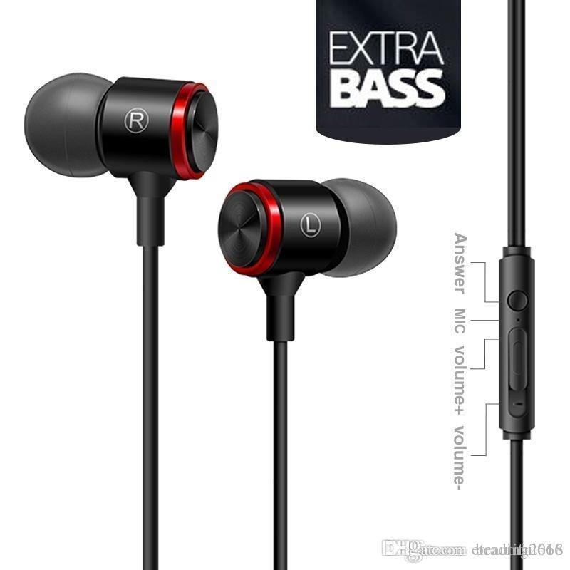Wired metallo cancellazione del rumore cuffie di musica Cuffie Lettore MP3 Auricolare Bass