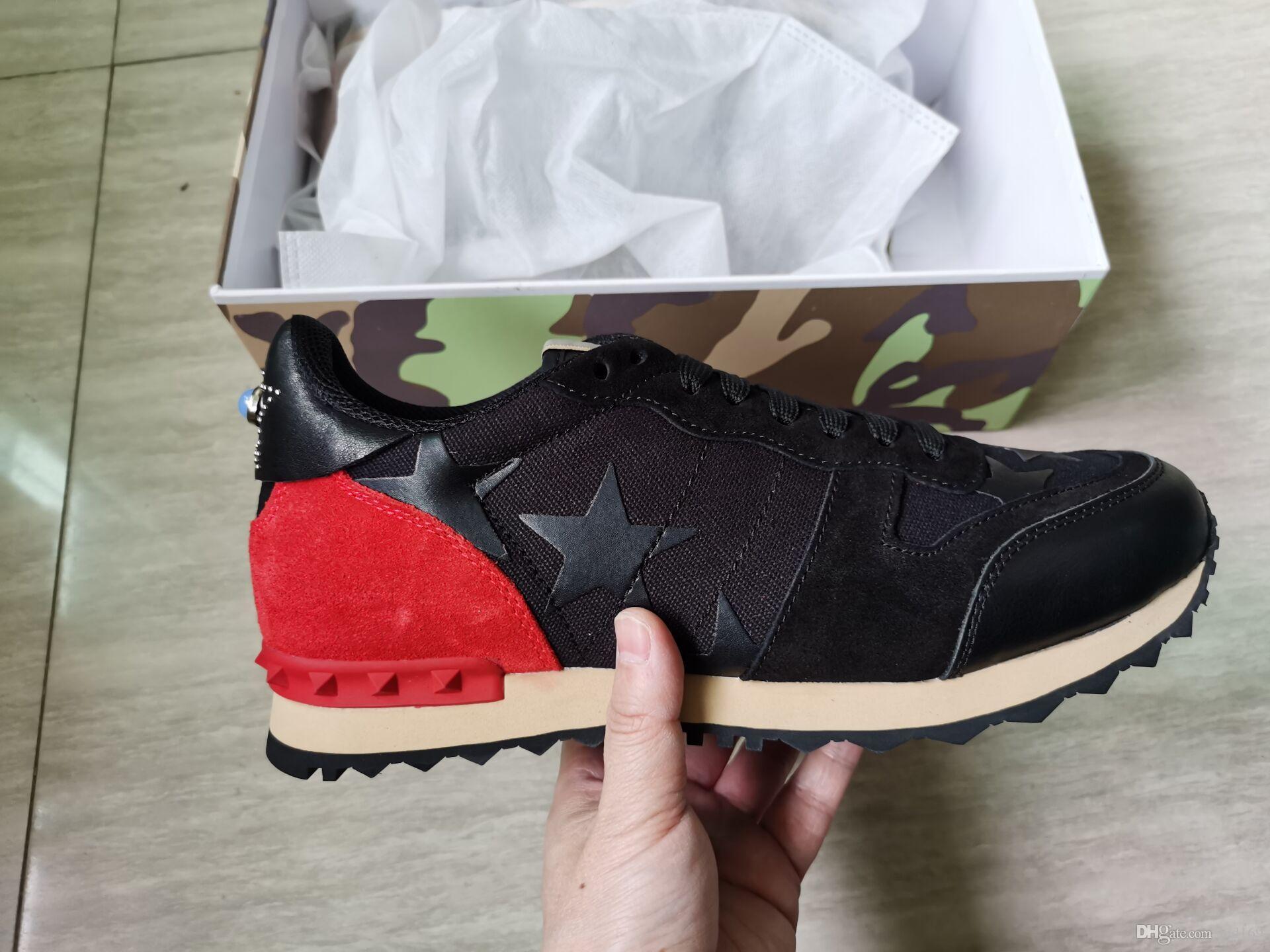 Calientes [] caja original del perno prisionero de camuflaje las zapatillas de deporte Calzado Hombres Mujeres Pisos de lujo de diseño Rockrunner Zapatos de la zapatilla casual