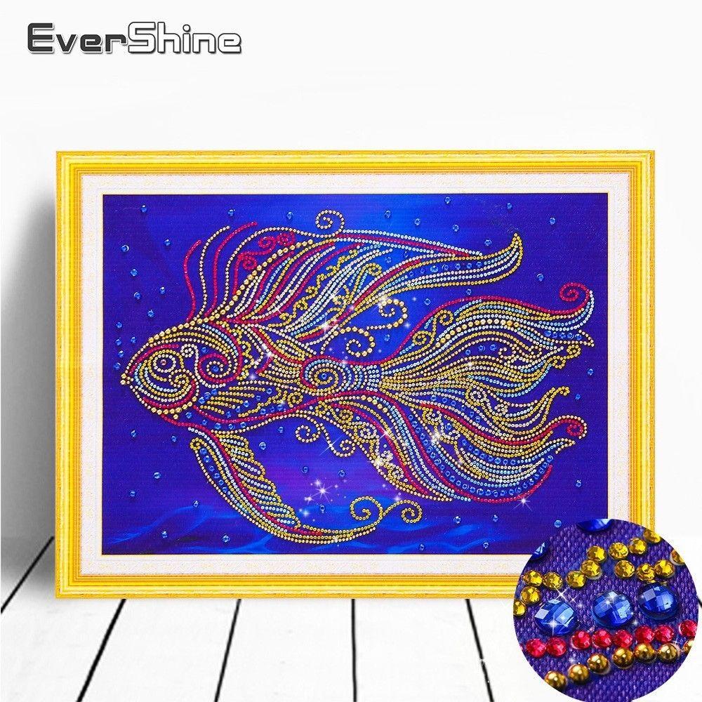 wholesale Special Shape Diamond Painting Fish Picture Of Rhinestones Diamond Embroidery Sale 5D DIY Diamond Mosaic Animals 40x50