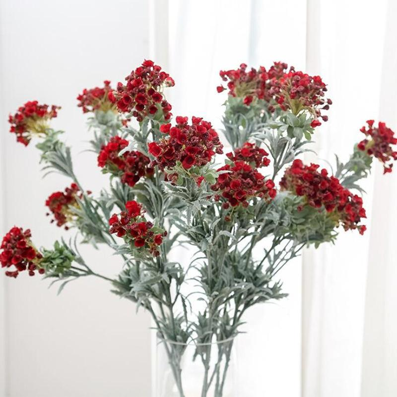 New Snowball Flower Branch Wedding Home Decoration Flower Photography Props Fake Flower Flores Artificiais, 3 Heads/branch
