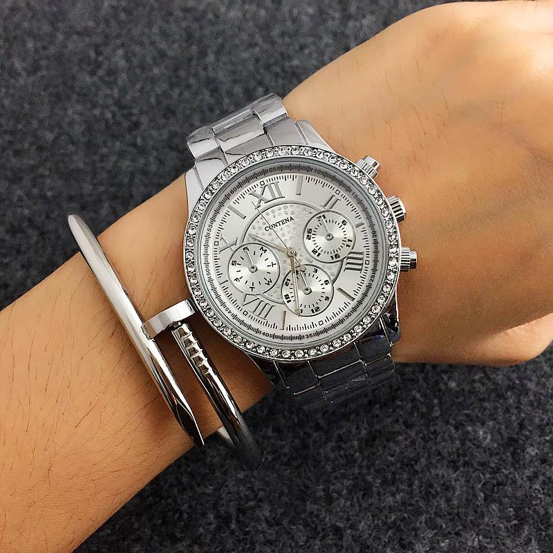 CONTENA Silber Frauen-Uhr-Spitzenmarken-Frauen-Uhr-Art- und Diamant-Dame-Uhr-Edelstahl-Uhr zegarek damski