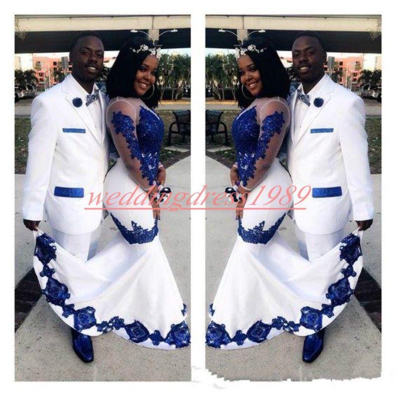 Elegante Mermaid Plus Size Prom Dresses 2020 Ragazze Applique manica lunga puro nero africano della festa Juniors formale robe de soiree Abiti da sera