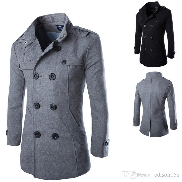 Hot Men's Slim Casual Fashion Double-Breasted Woolen Windbreak Trench Coats Man Overcoat 3 Color M-4XL Y014