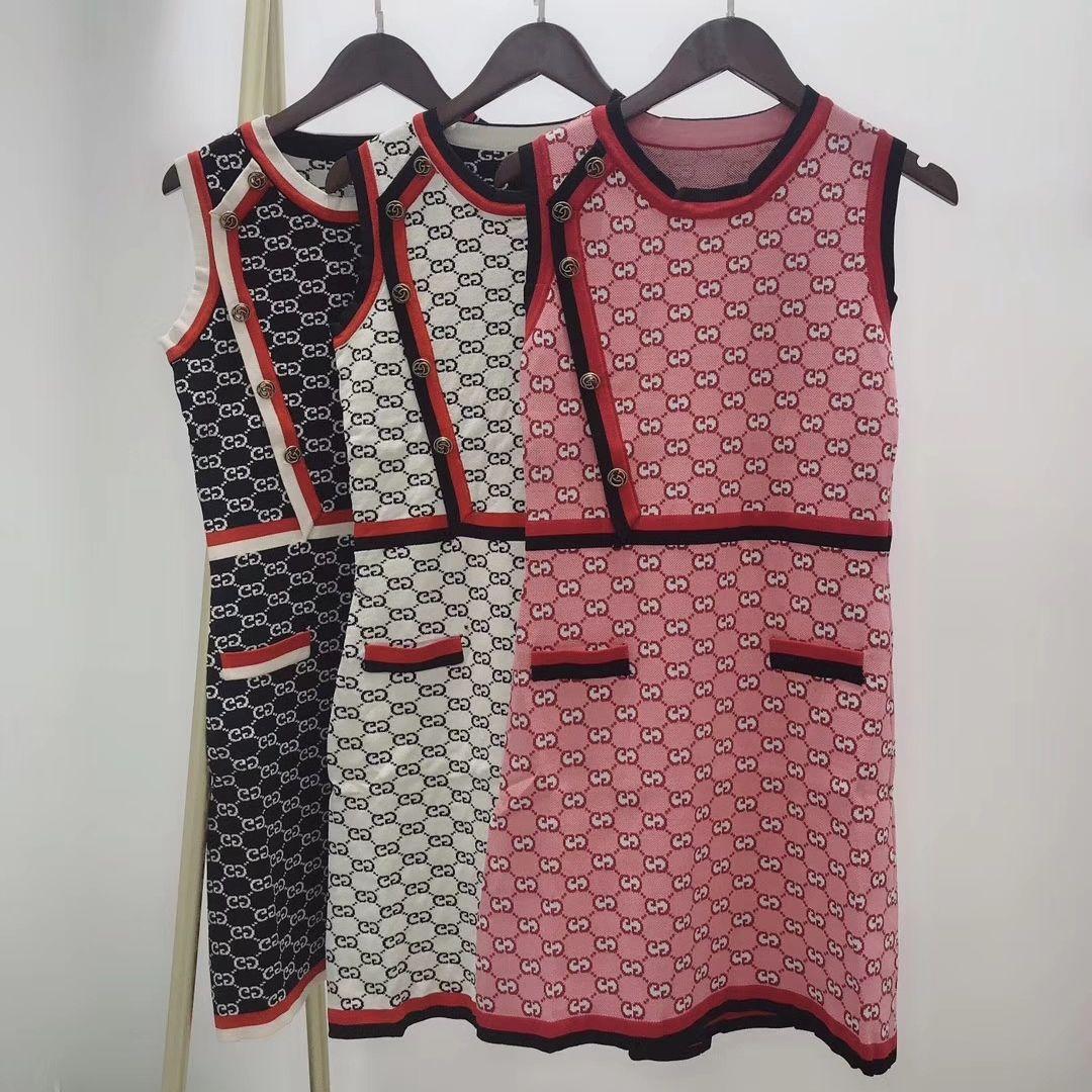 Tasarımcı Kadınlar Etekler Lüks Bayan Elbise Marka Kızlar Midi Elbiseler Seksi Party Club Slim Fit Elbise Yaz Kolsuz Gömlek Elbise 2020668K