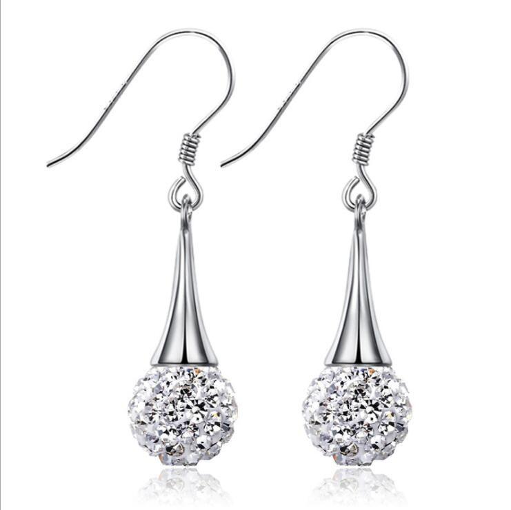 Version coréenne de la mode super clignotant chauve diamants balle complète femme boucles d'oreilles tempérament argent plaqué boucles d'oreilles bijoux d'oreille Dangle Chande