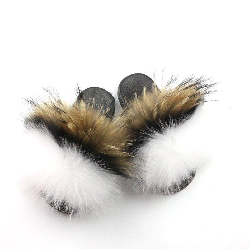 Оптом индивидуальные женщины детские меховые слайды тапочки реальные меха женские тапочки