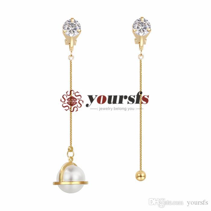 YESFS Asymmetry Crystal Gesimuleerde Pearl Dangle Clip op voor Dames ins Stijl Mode Lange Ketting Geel Vergulde oorbellen
