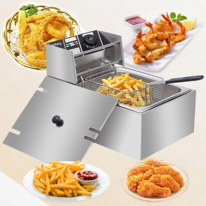 Fries New 6L Aço Inoxidável Único elétrica Fritadeira Tanque franceses frango frito Chip para Home comercial plug-nos Expedição Desde US