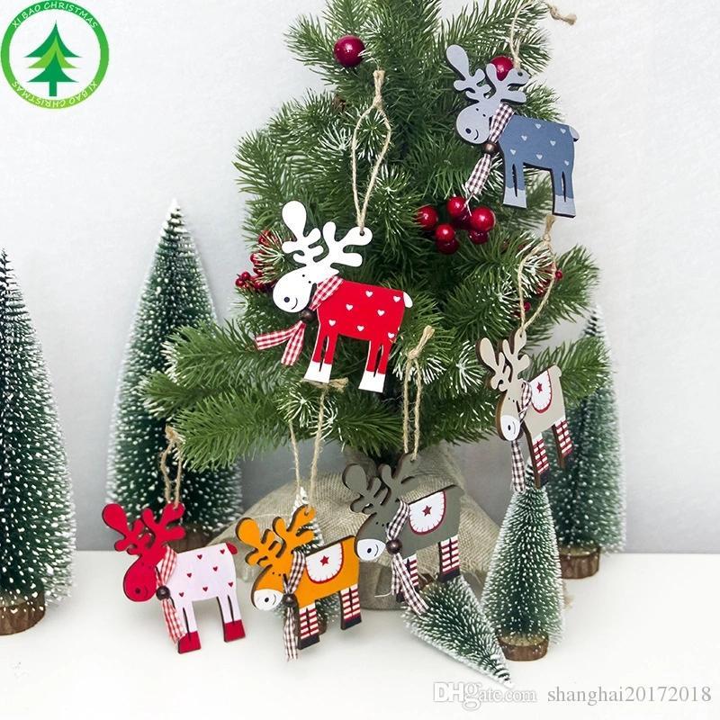 Décorations De Noel En Bois Sapin De Noel Peint En Bois Elk En Forme De Pendentif Maison Partie De Noel Decorations