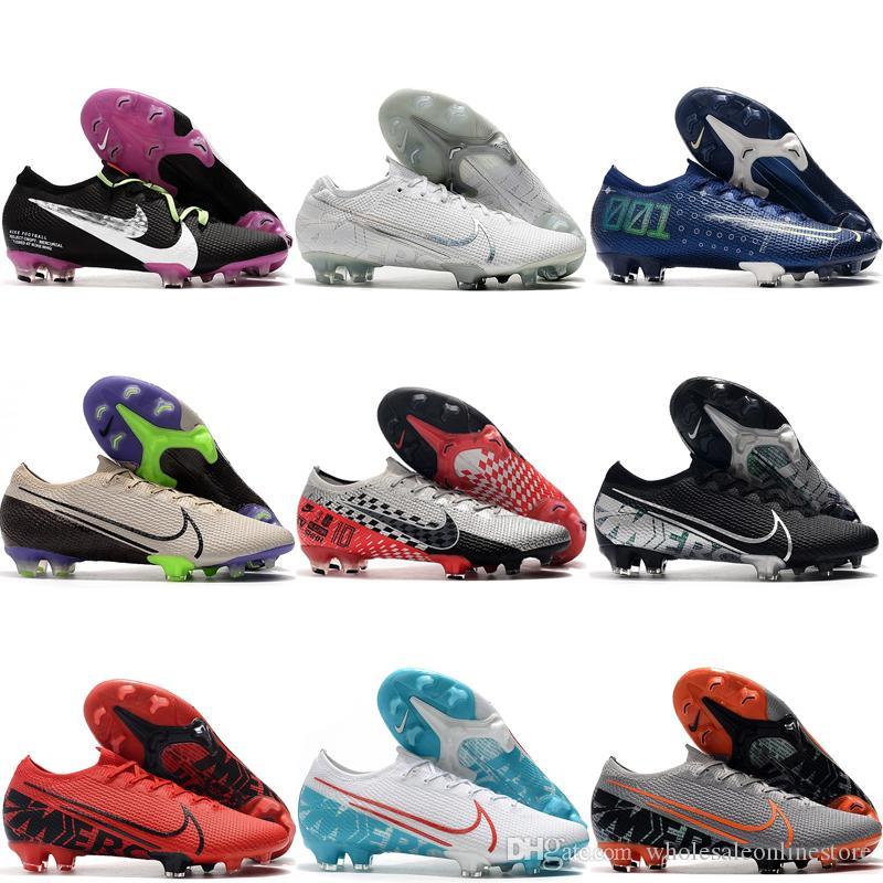 2019 sapatos dos homens da qualidade superior de futebol CR7 Mercurial Superfly chuteiras de futebol 13 Elite FG chuteiras Sonho baixa velocidade tornozelo scarpe calcio preto