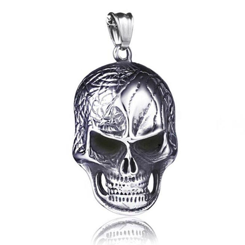 Hip Hop Men Titanium Steel Skull Witch Pentagram Necklace Punk Rock Mask Scissors Cross Pendant Necklaces Mens Gothic Collar Jewelry New