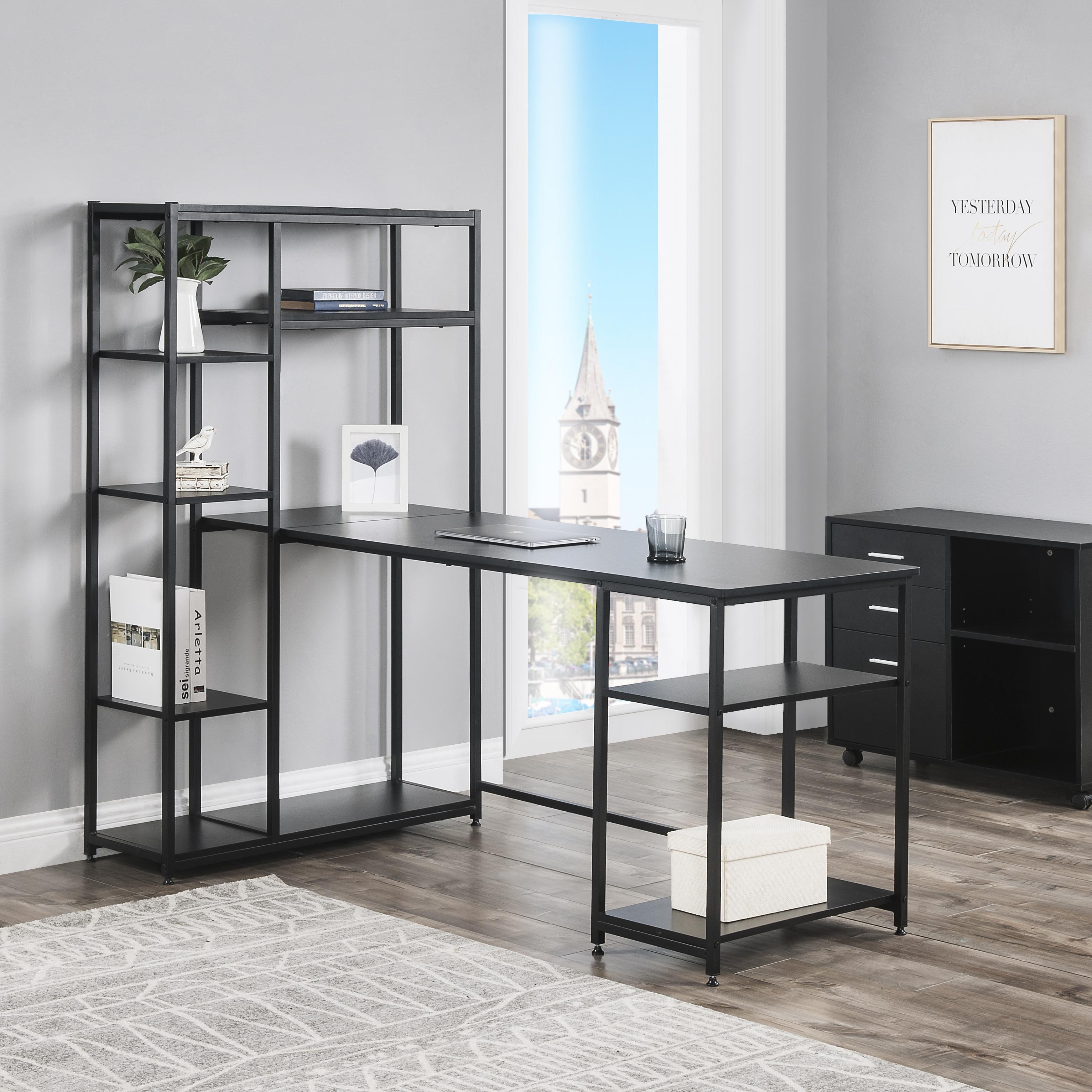 33 Office Computer Desk Multiple Storage Shelves, Modern Large Office  Desk Bookshelf Storage Space Black Living Room Furniture From  Greatfurnishing,