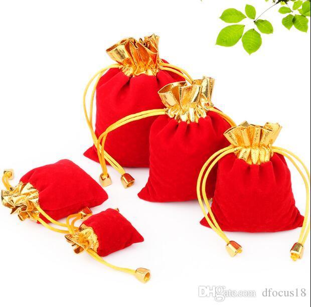 Sıcak Kadife Torbalar Torbalar İpli Takı Ambalaj Çanta Noel / Şeker / Düğün Hediyelik Çanta kırmızı / altın toptan