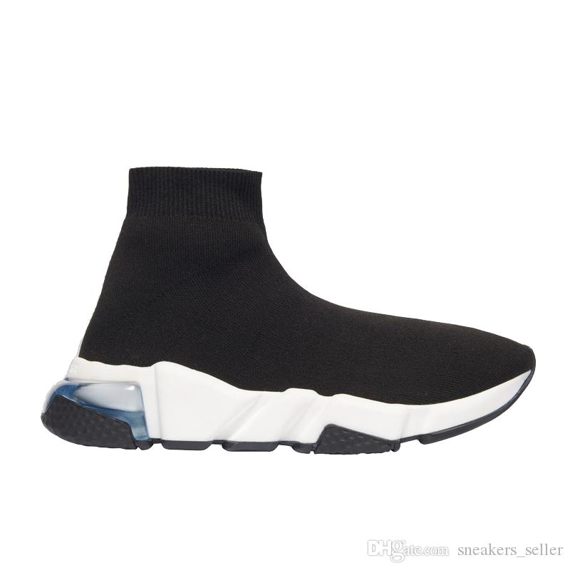 2020 Sneakers Speed Clearsole Black Jacquard Knit White Black Graffiti Sole Flat Sock Boots Casual Shoes Speed Trainer Runner