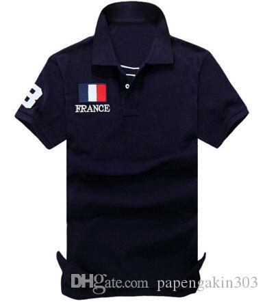 Mode américain Hommes solide Polo grand cheval de broderie France Italie Royaume-Uni Drapeau USA Coton Été Homme Classique Sport Tee shirts Polos Tops