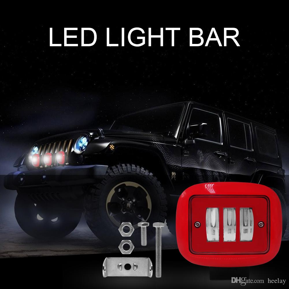 Red 30W LED Flood Light Car Fog Lamp Off Road Vehicles Square Round IP68 Bright Led Work Lamp Car Styling Lamp For SUV Jeep ATV