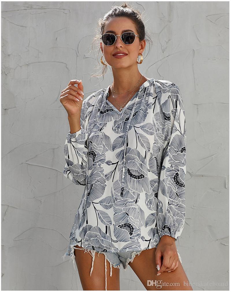 Bayan Tasarımcı Uzun Kollu Tişört Yaz Sonbahar Şifon Flora Baskılı Tişörtleri Avrupa ve Amerikan Stilleri Giysileri