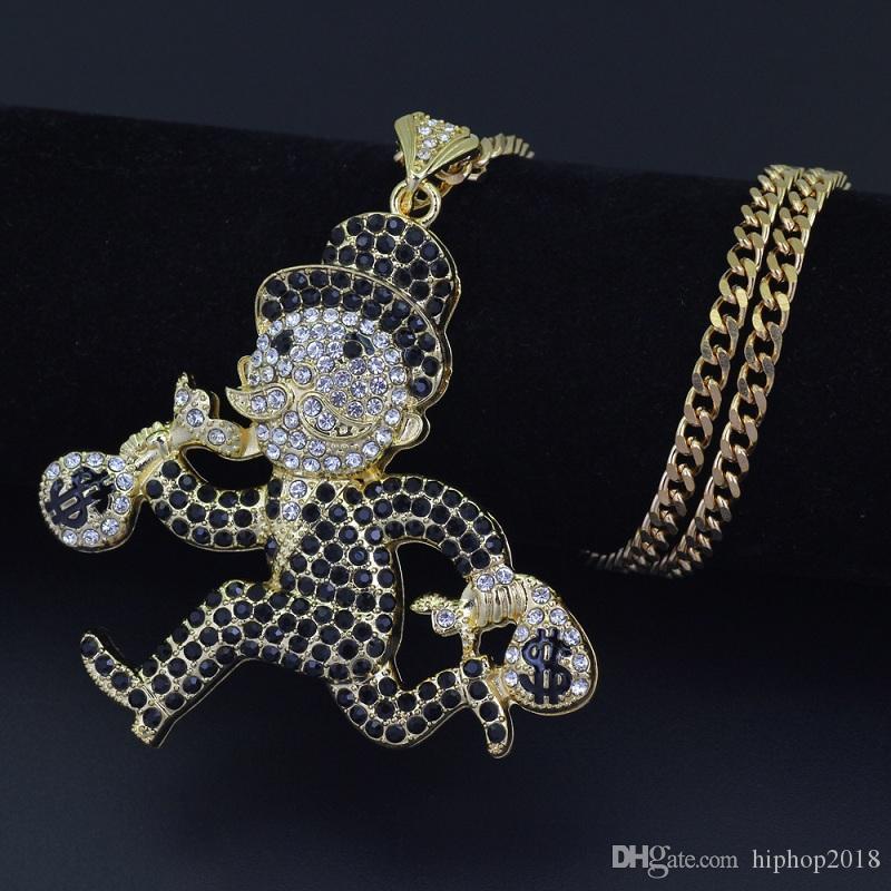 Mens Hip Hop Jewelry Collana 76 centimetri d'oro di Cuba catena Esecuzione Collana Fuori Cartoon Doll ghiacciato