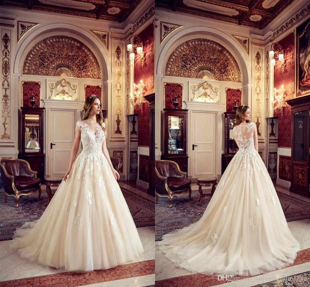 Romantic Light Champagne A Line Tulle Wedding Dresses Capped Sleeves Lace Appliqued Illusion Back Cheap Wedding Bridal Gowns