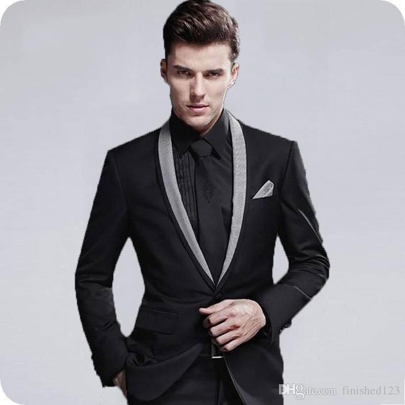 Son tasarım bir düğme siyah Damat Smokin şal Yaka erkek takım elbise 2 parça düğün/balo/akşam Blazer (ceket + pantolon + kravat) W726