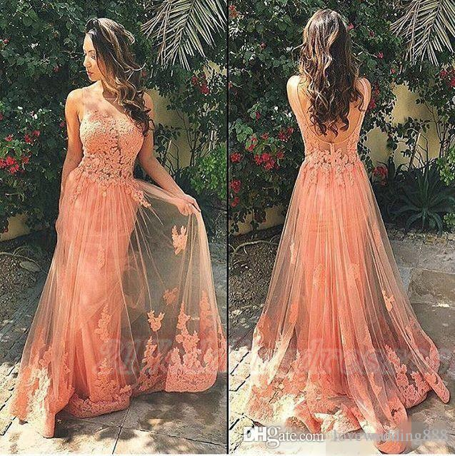 Peach Color Tank Sleeveless A line Tulle Appliques Prom Dresses Sexy 2019 Backless Sheer Appliques Lace Evening Dresse