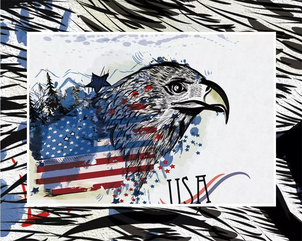 Custom Wallpaper American Eagle American Flag Tv Background Walls