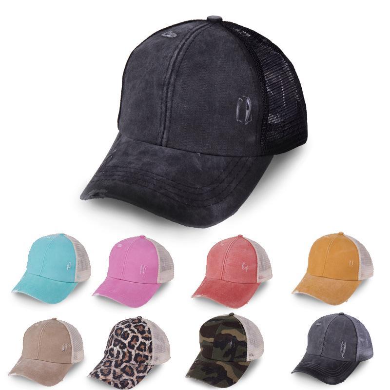 크리스 크로스 포니 테일 모자 30 색 씻어 메쉬 다시 레오파드 해바라기 격자 무늬 카모 중공 지저분한 롤빵 야구 모자 트럭 모자 ljjo8225