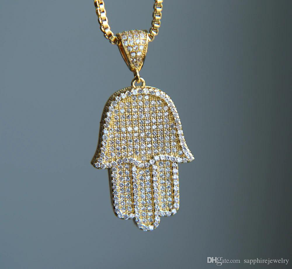 Quality Hip Hop Bling Box Chain 24Inch Women Men Couple Gold Silver Color Iced Out Hamsa Hand Pendant Necklace With