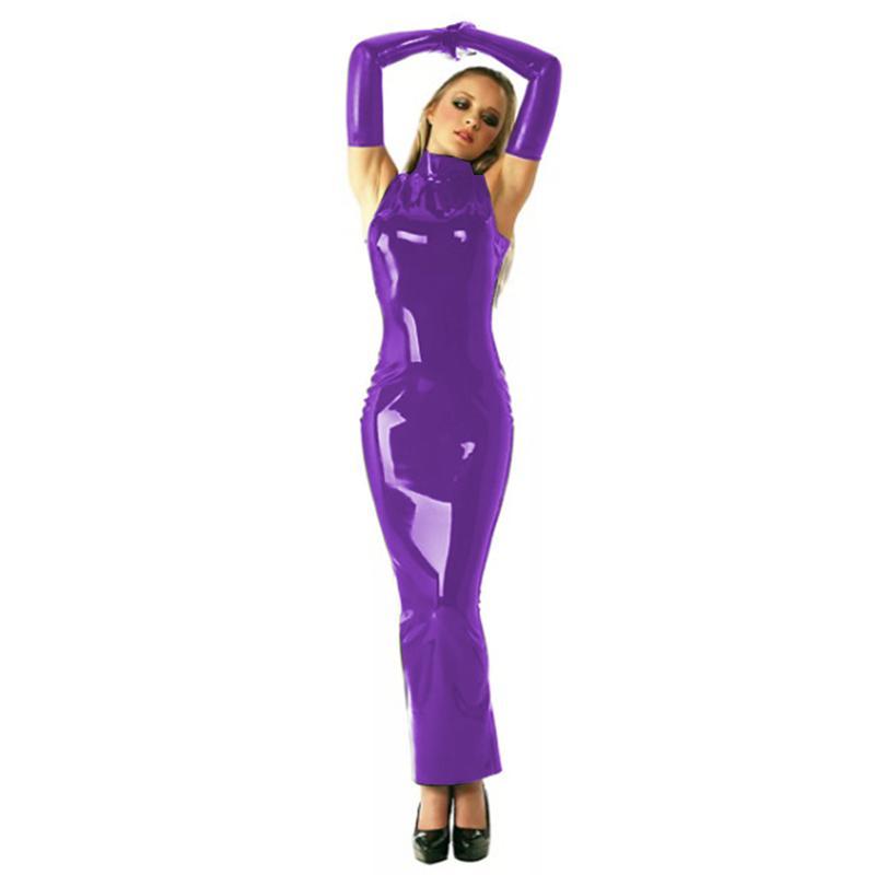 7 couleurs brillant à col roulé Femmes Robe longue sexy manches Maxi Dress Nightclub Dancing Party Costume PVC Bandage Slim Vestido