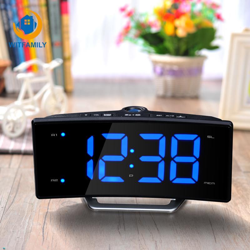 2019 Nuovo specchio LED luminoso elettronico a doppia canna Clock Radio sveglia della proiezione di ricarica display Desk Guarda Gadget