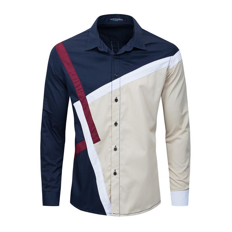 Mens 2020 Tasarımcı Günlük Gömlek Moda Kasetli Gevşek Yaka Yaka Uzun Kollu Gömlek İnce Erkek Giyim