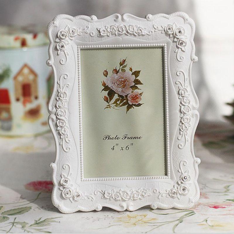 Résine Blanc Cadre photo Cadre photo vintage peinture Cadres photo Rose fleurs Cadres Salon Home Décor cadeau 6 7 8 10inch VT1668