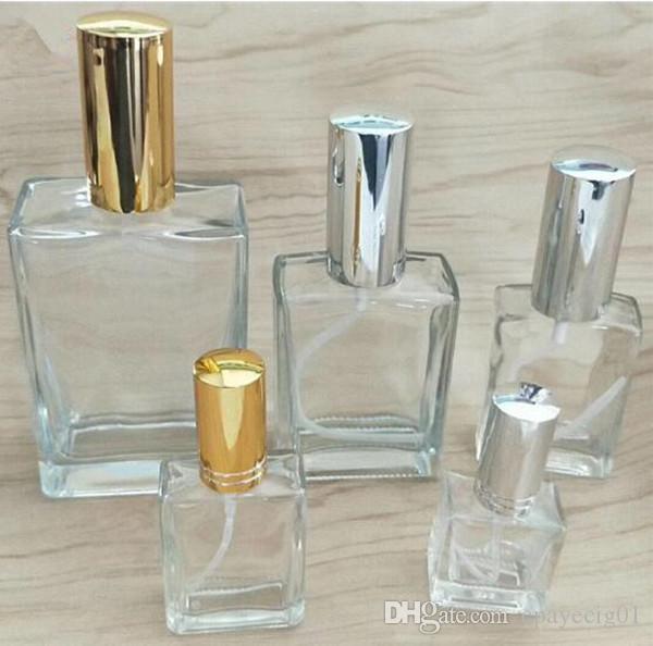 Altın, gümüş siyah sprey en özel dikdörtgen parfüm cam sprey şişesi düz kare açık 50ml