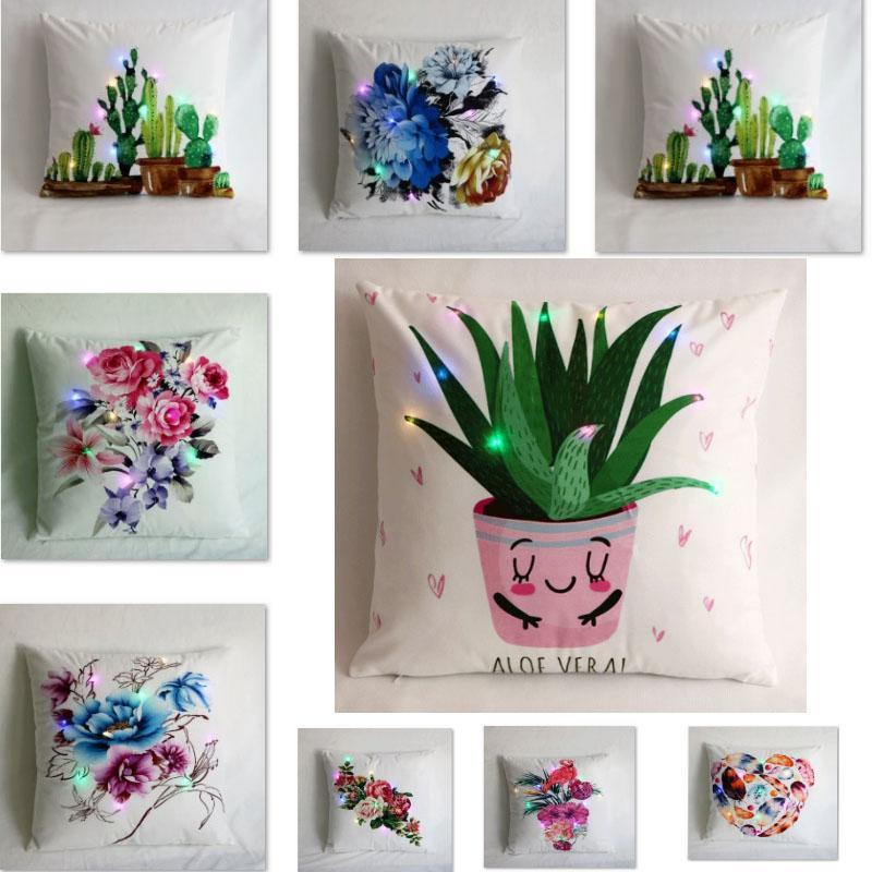 Led Print Luminous Pillow Case Pillow Covers Throw Cushion Cover Creative Flower Square Pillowcase Home Sofa Car Xmas Decoration HH9-2306