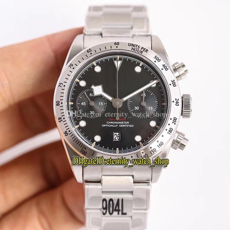 versão Luxo TW Preto Heritage Bay Chronograph m79350-0004 mostrador preto 7750 autoamtic Mens Watch Sapphire Caso 904L Aço Designer relógios