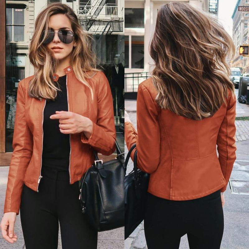 2020 Cappotto di cuoio femminile Bike Jacket Women Yellow Leather Jacket chiusura lampo delle donne Outfit Primavera Autunno Blazer