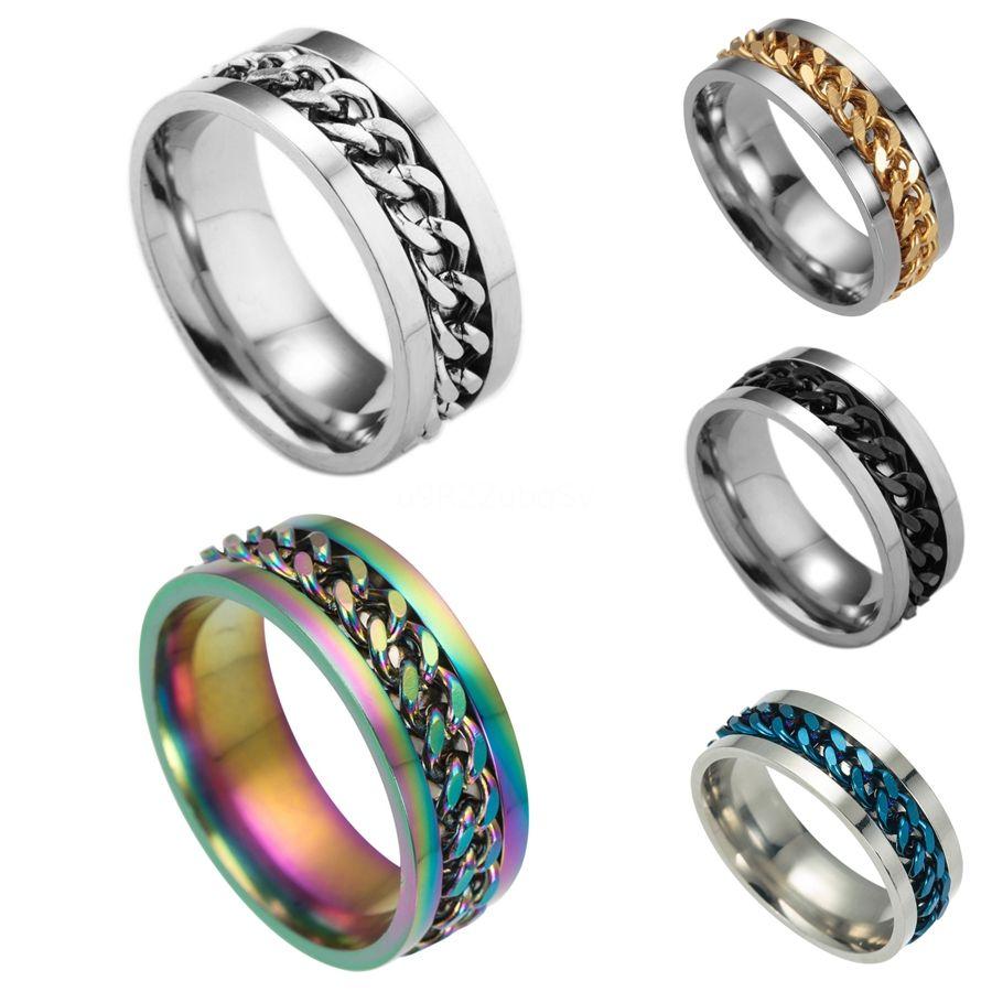Nova High-End Boutique Mens Stainless Black Gold Aço corrente de prata rotativo de dedo anelar maré Personalidade 3 cores # 647