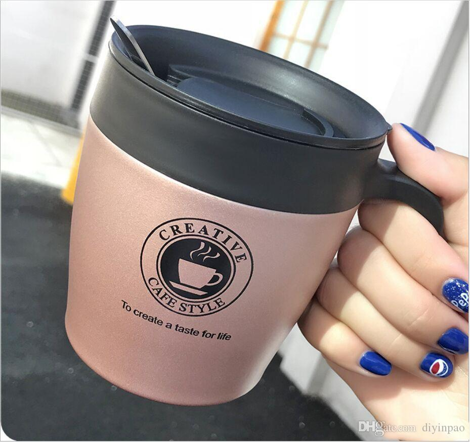 New 330ml Coffee Mug Vacuum Cup Thermos Stainless Steel Insulated Water Cups Tumbler With Handle Lid and Mixing Spoon Office for colleagues