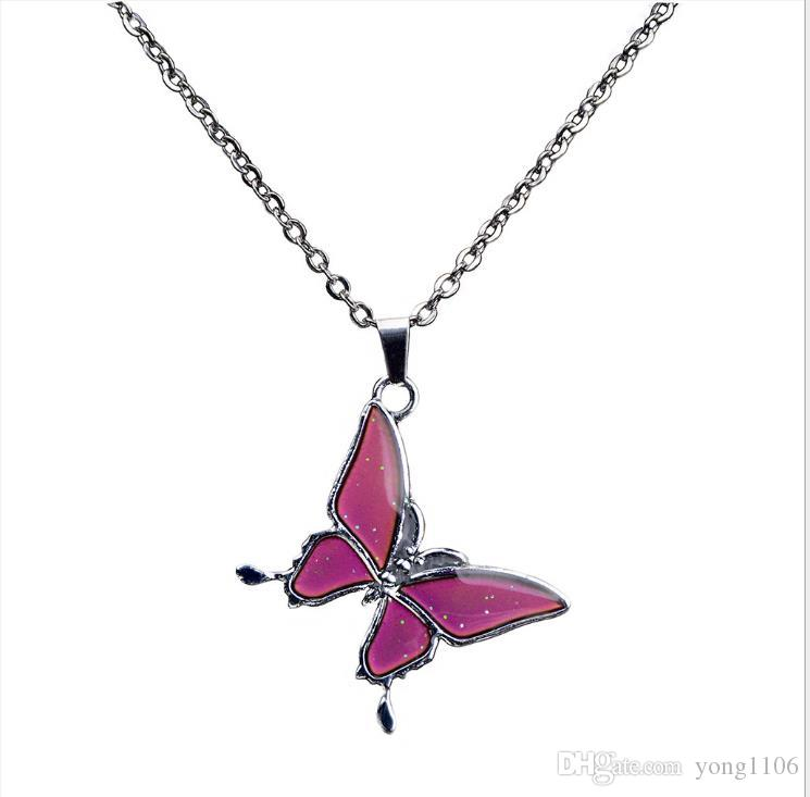 Moda moda mujer encanto mariposa temperatura y cambio de color de la personalidad de alta calidad collar de acero inoxidable collar joyería
